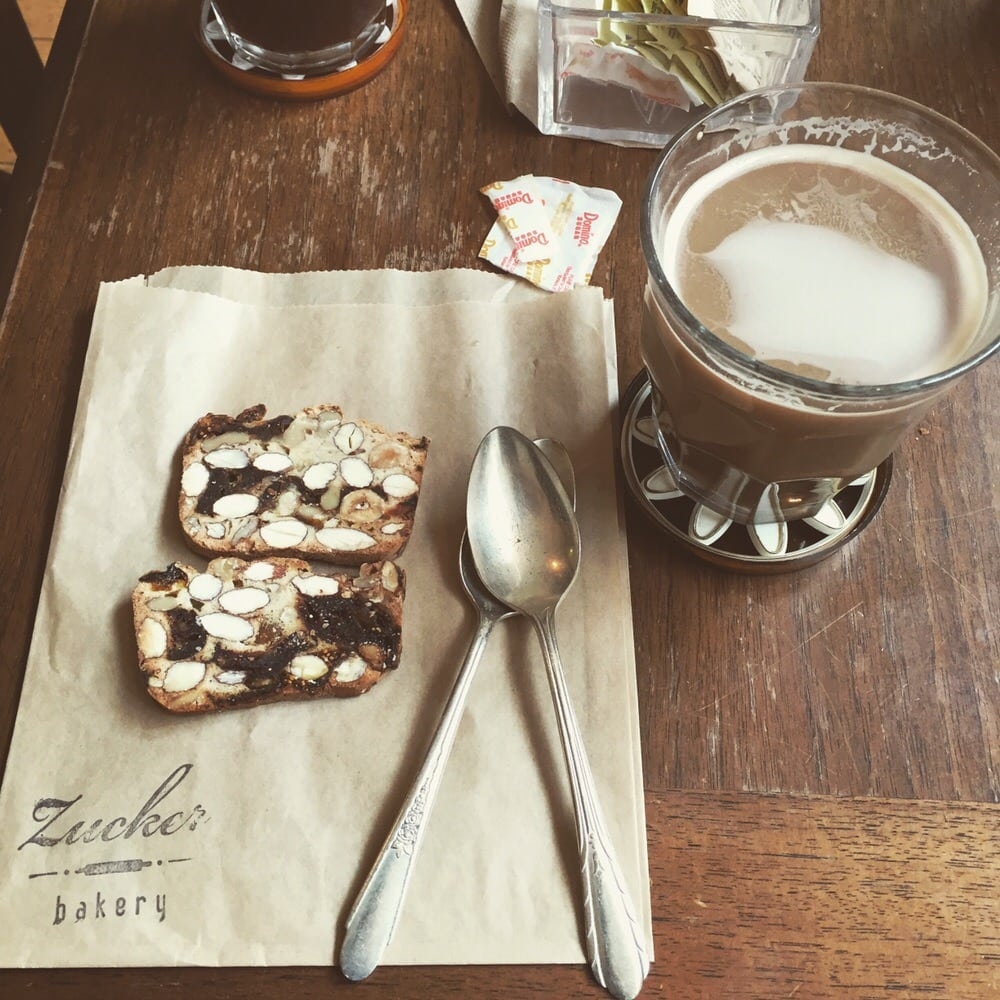 Photo of Zucker Bakery - New York, NY, United States. Nut bread with a coffee. Tasted oh so wonderful.