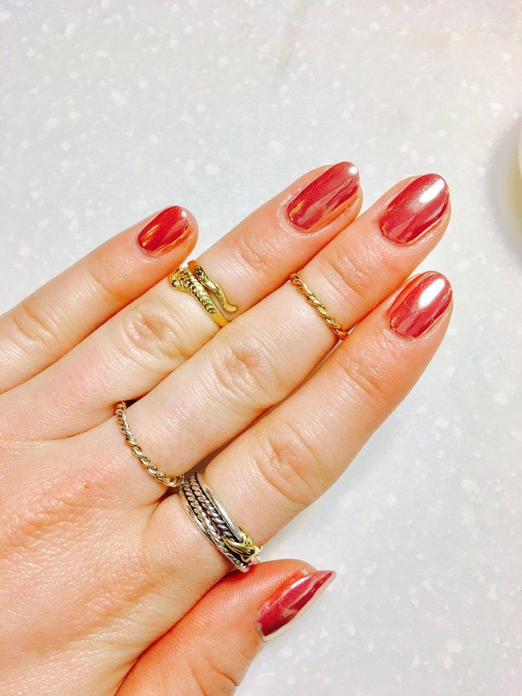 Rose gold chrome gel manicure! - Yelp