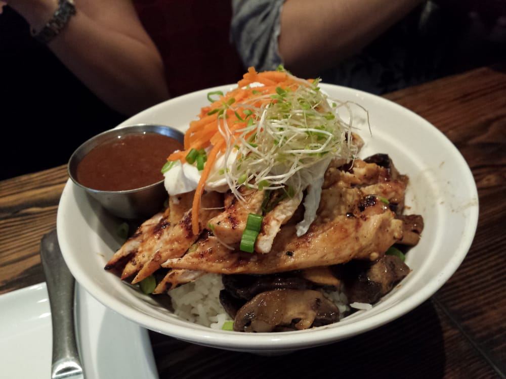 Grilled chicken with mushrooms and poached egg over rice | Yelp