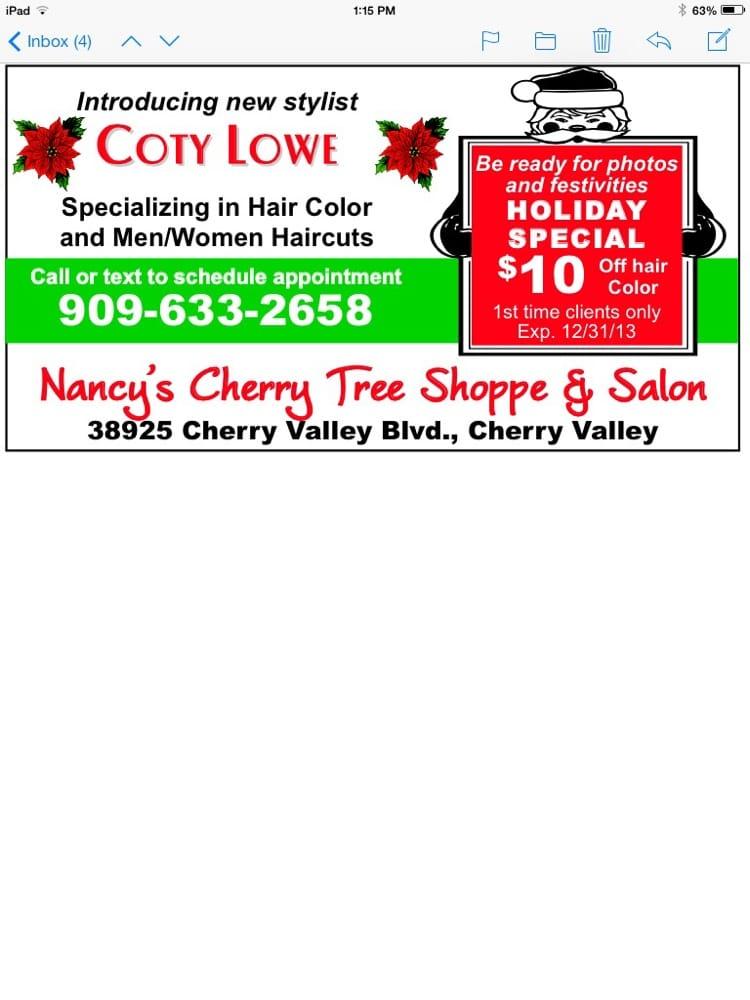 Nancy's Cherry Tree Shoppe & Salon: 38925 Cherry Valley Blvd, Cherry Valley, CA