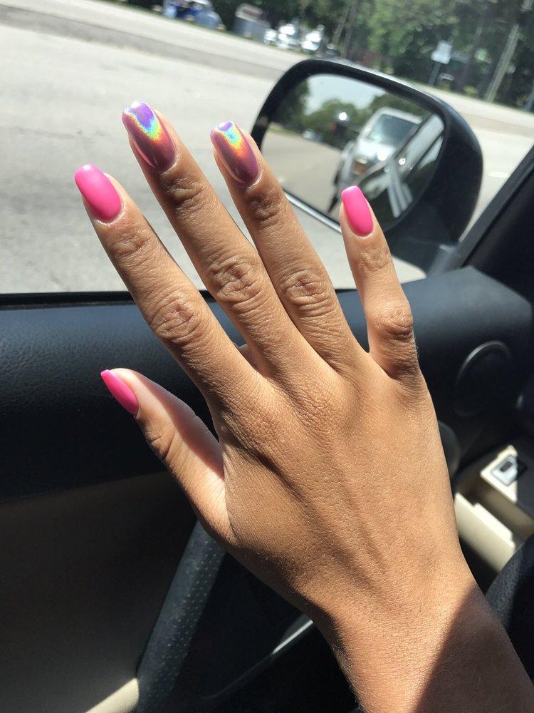 Matte & hologram effect (gel manicure) on my natural nails - Yelp