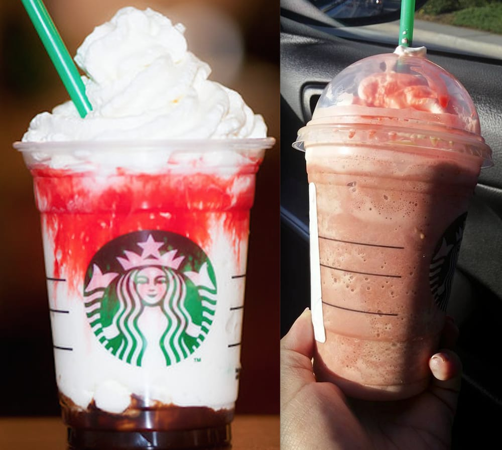 left: what the frappula (halloween drink should look like) vs. right