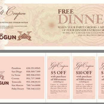 picture about Printable Coupons Shogun known as Shogun discount coupons corona ca