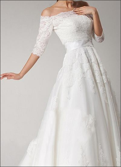 Spitzen Brautkleid Carmen Ausschnitt Yelp