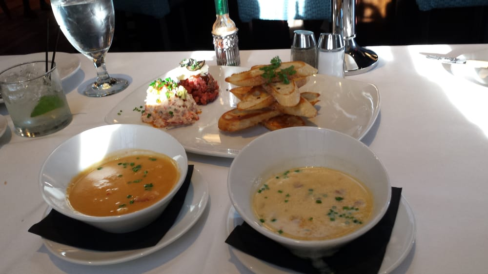 Lobster and Shrimp bisque (L), Crab Corn Chowder (R) with Lobster and Steak Tartare for starters ...