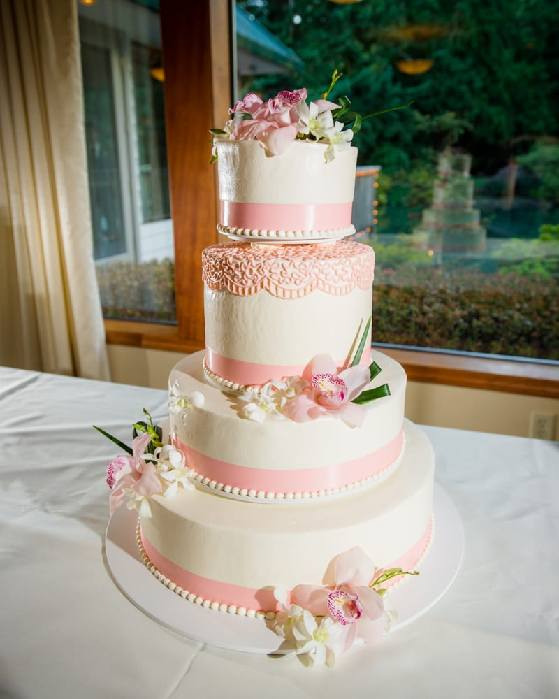 our beautiful wedding cake by beaverton bakery florals by