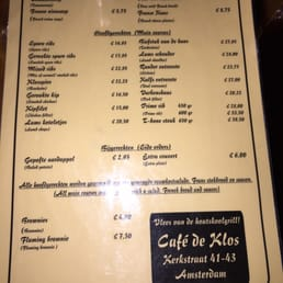 Cafe De Klos Menu Amsterdam