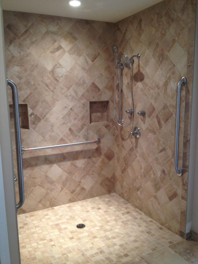 Handicap shower no lip threshold for easy wheelchair for How to build a wheelchair accessible shower