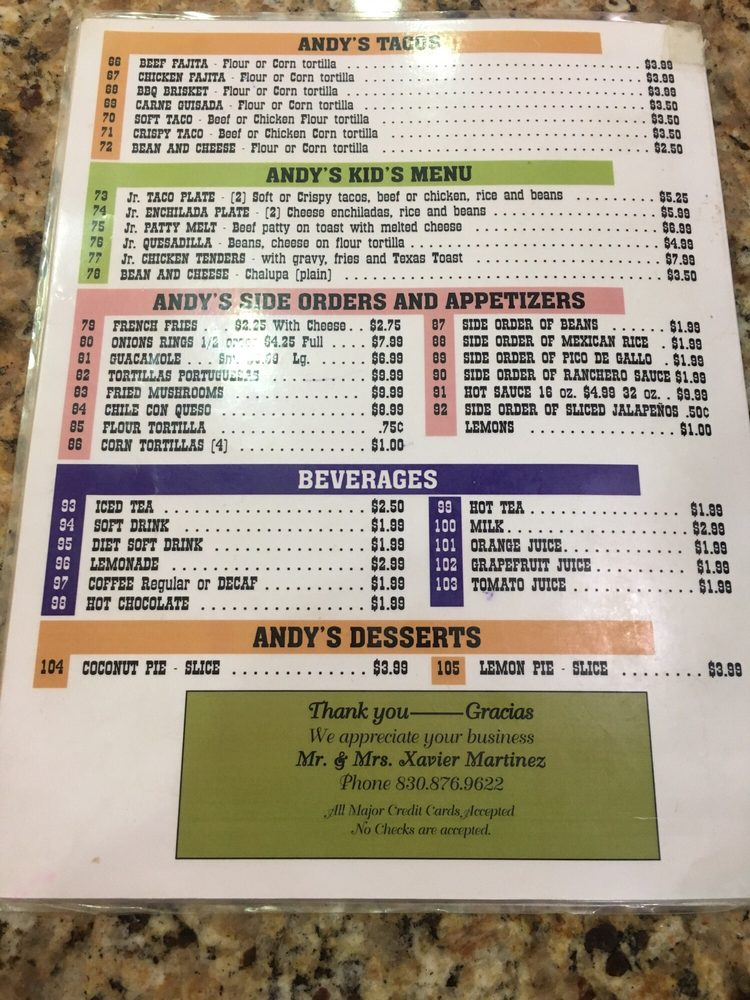 Andy's Restaurant: 101 N 1st St, Carrizo Springs, TX