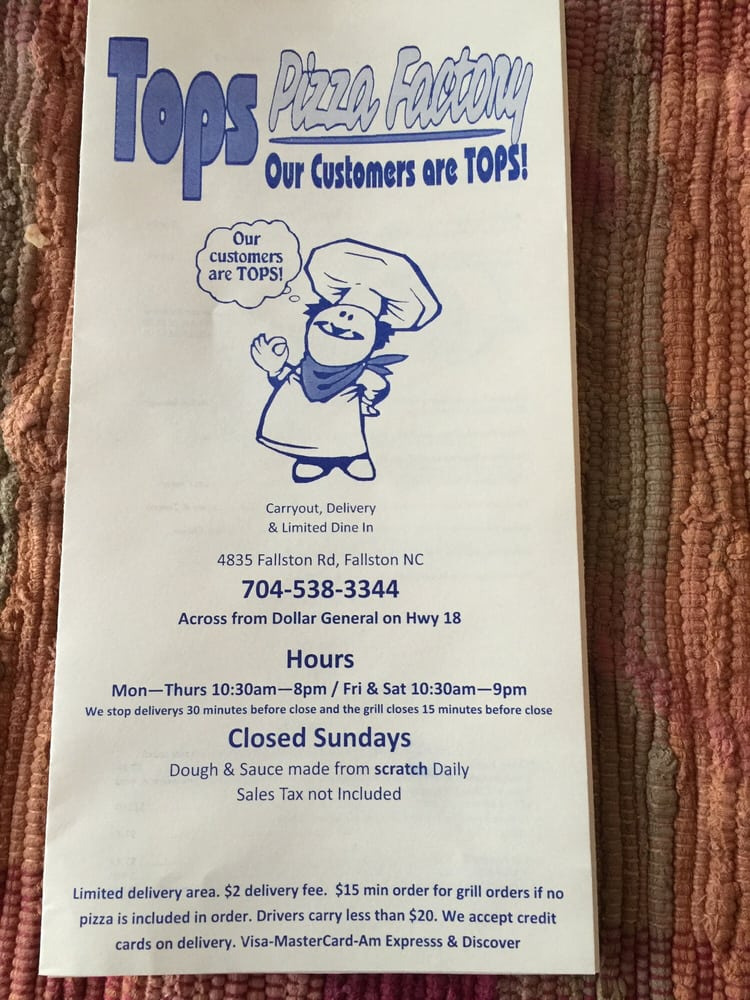 Tops Pizza Factory: 4835 Fallston Rd, Lawndale, NC