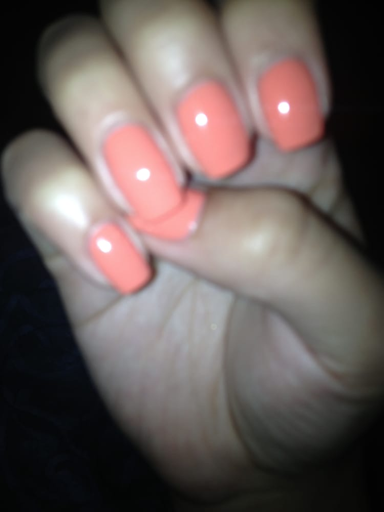 No chip manicure in the most beautiful peach color. This photo does ...
