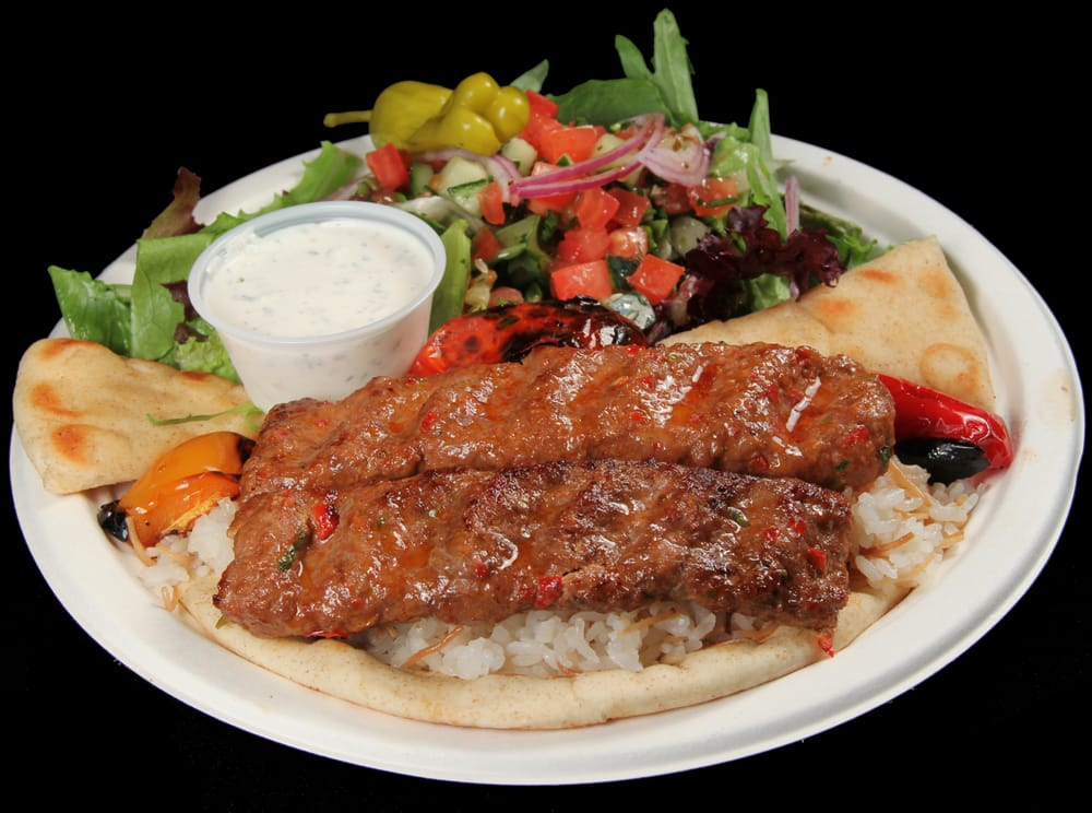 5 adana kebab ground beef and lamb skewer served with for Anatolia mediterranean cuisine