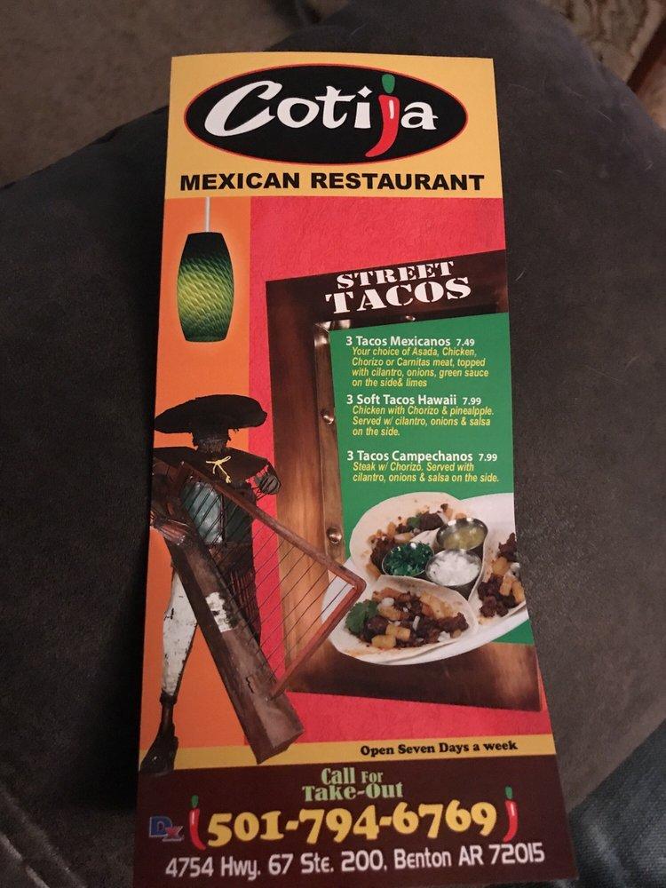 Cotija Mexican Grill: 4754 Hwy 67, Benton, AR