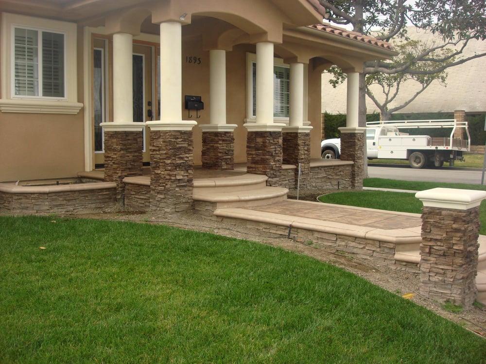 Stamped Concrete Veneer : Stamped concrete walkway with custom bullnose