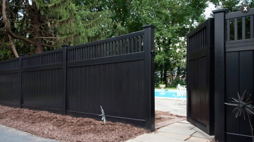 Solid Privacy With Close Top Picket Accent Black Vinyl Yelp