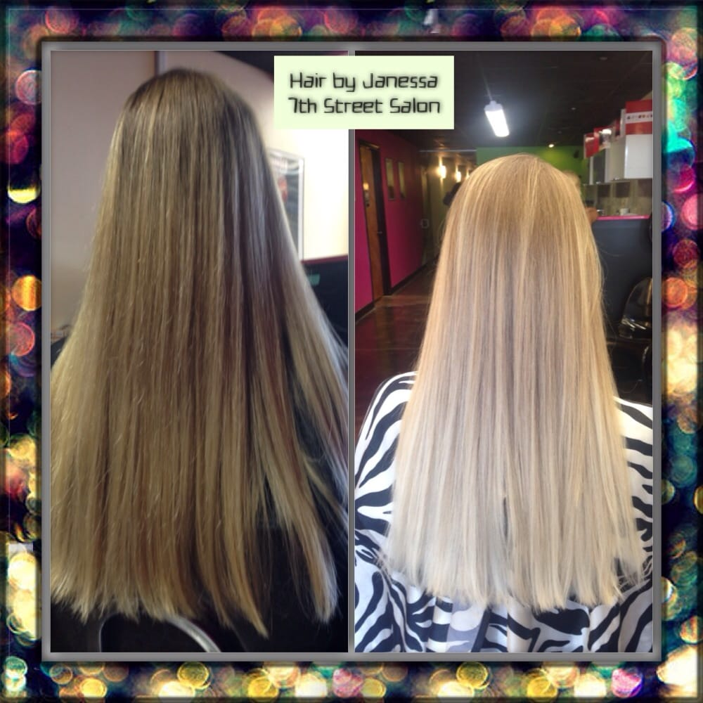 Before after ombr using schwarzkopf blondme by janessa for 7th street salon