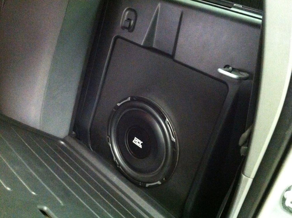 10 subwoofer custom molded into the compartment behind. Black Bedroom Furniture Sets. Home Design Ideas