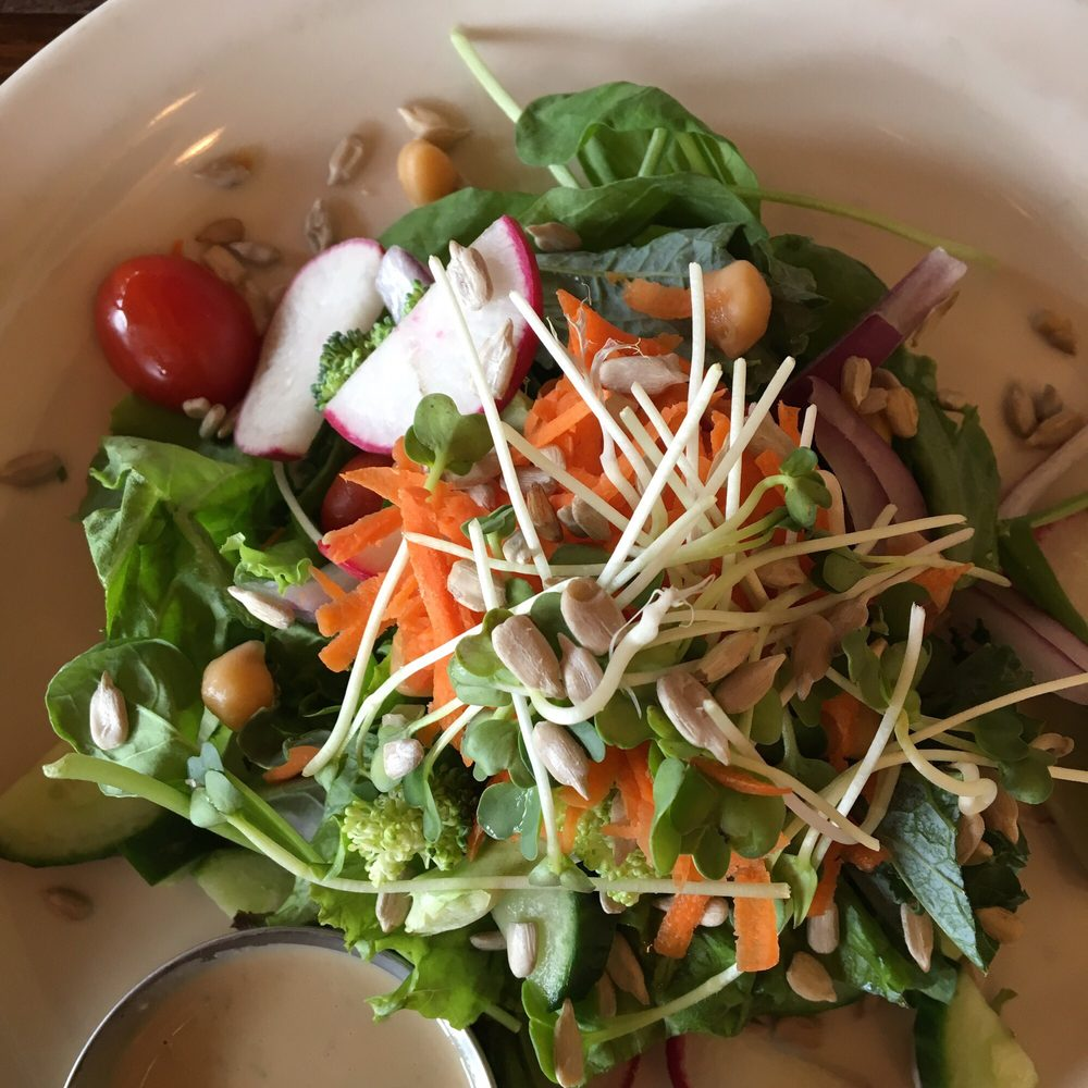 Gardens salad with green goddess dressing. Amazing fresh sprouts ...