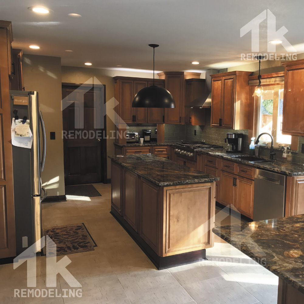 complete remodel. open floor plan. custom kitchen cabinet and exotic