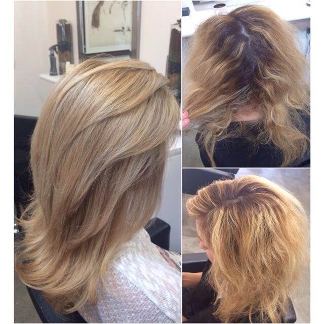 Color correction on EXTREMELY damaged hair. Highlights, deep ...