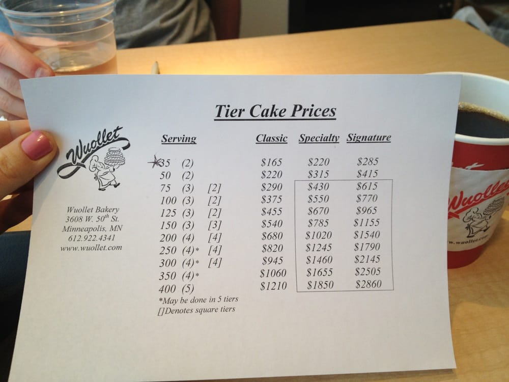Wuollets Website Doesn T List Prices For Tiered Wedding Cake So