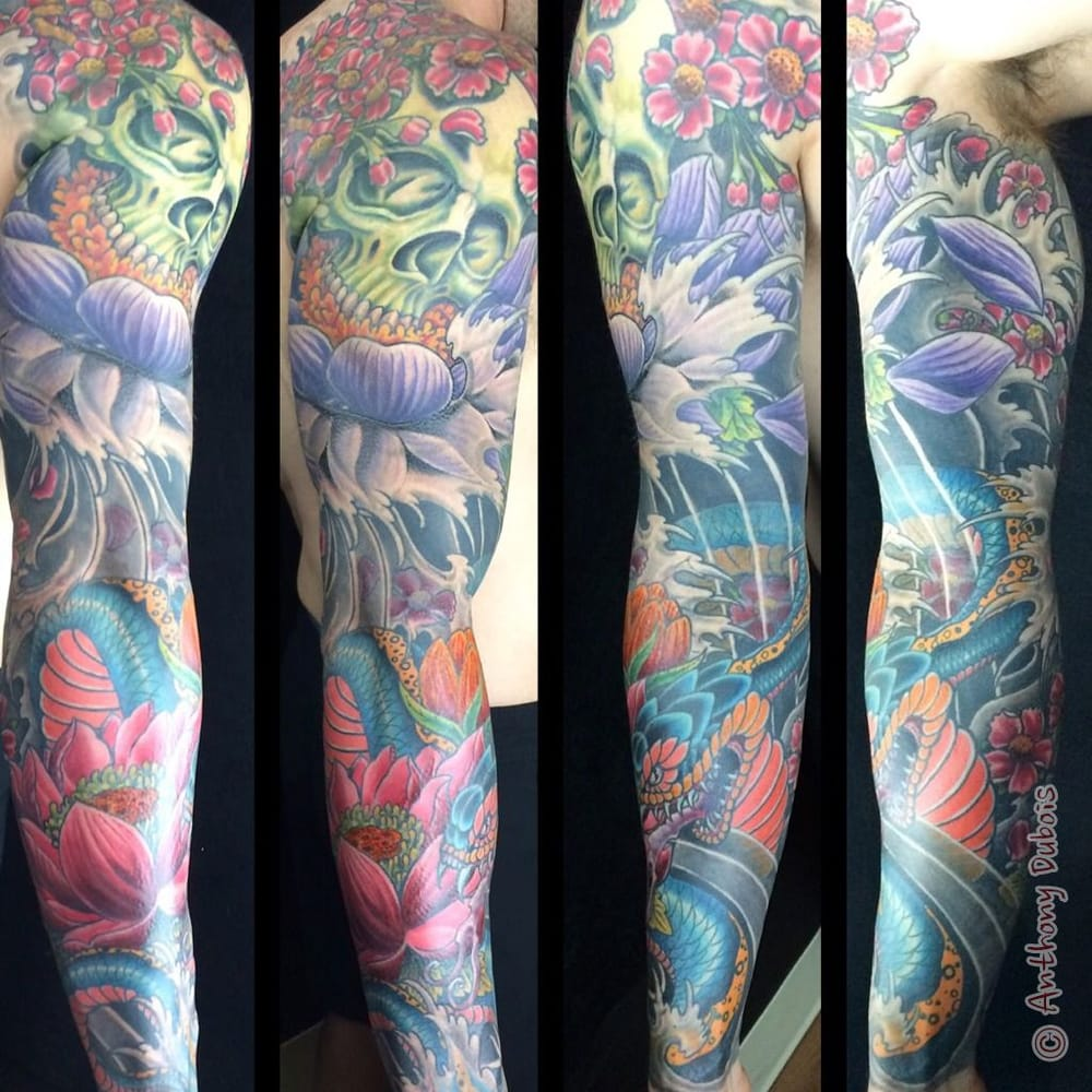 Tattoo by anthony dubois snake and skull japanese tattoo for Tattoo columbus ohio