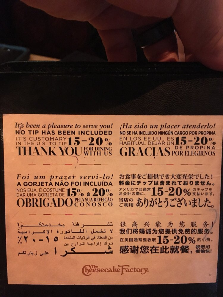 Thank you & gratuity suggestion in many languages - Yelp
