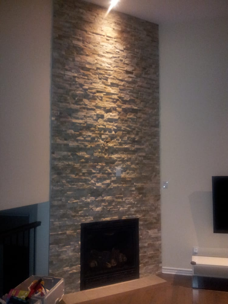 Photo Of Fireplace West   Ottawa, ON, Canada. Ledgestone Around Gas  Fireplace On