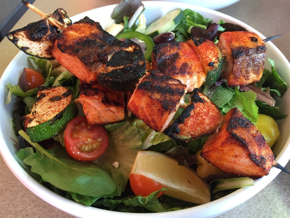Greek Salad Add Salmon Kabobs Very Well Done Yelp