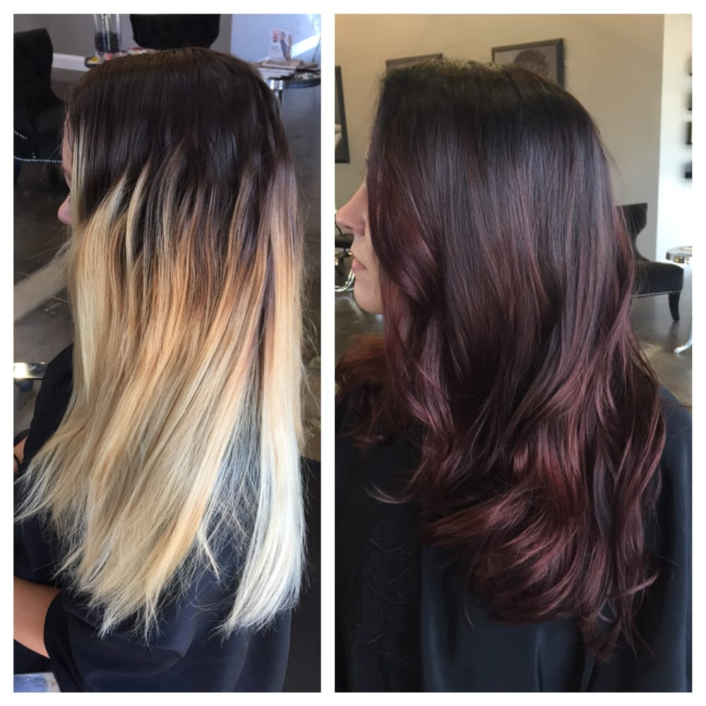 Converted to a beautiful brunette with reddish balayage for Saloni di lusso