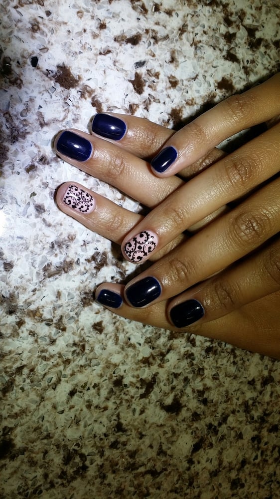 Navy Blue Gel Manicure With Free Handed Lace Design Wedding Nails