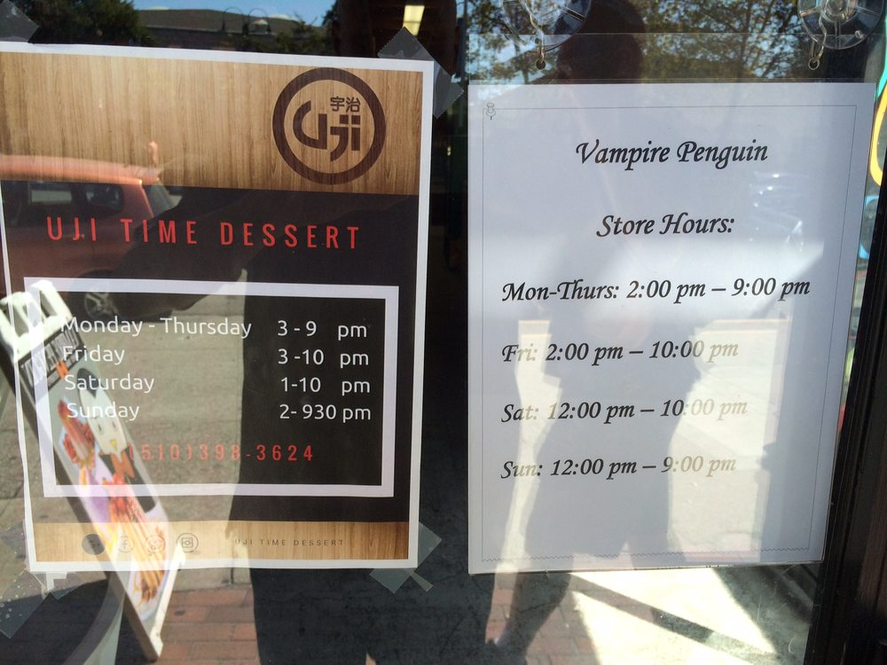 Business Hours For Both Uji Time And Vampire Penguin Yelp