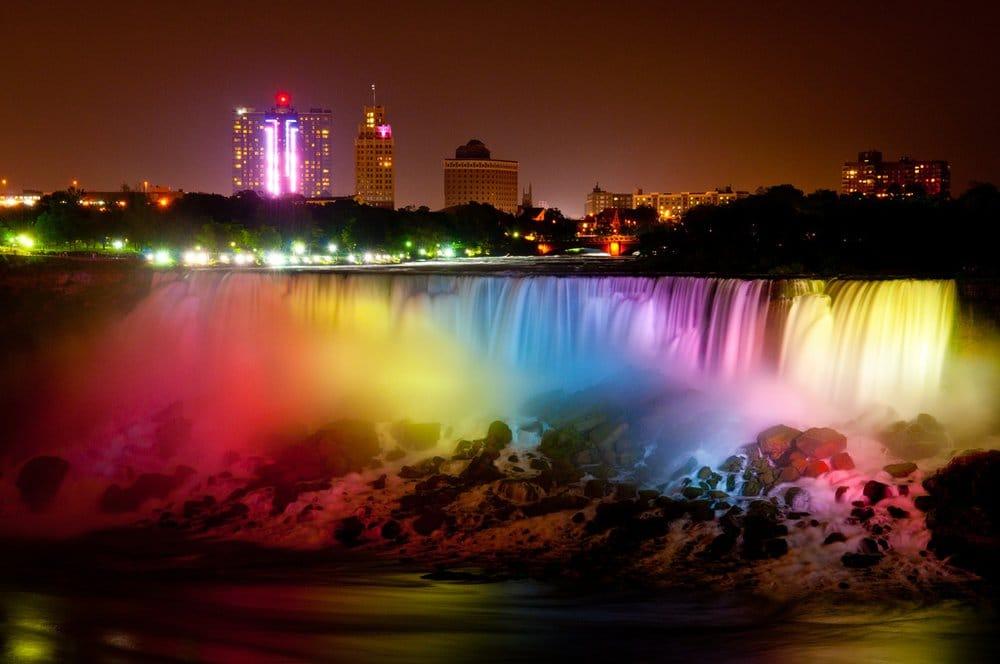 Niagara Falls In Rainbow Colors At Night Yelp