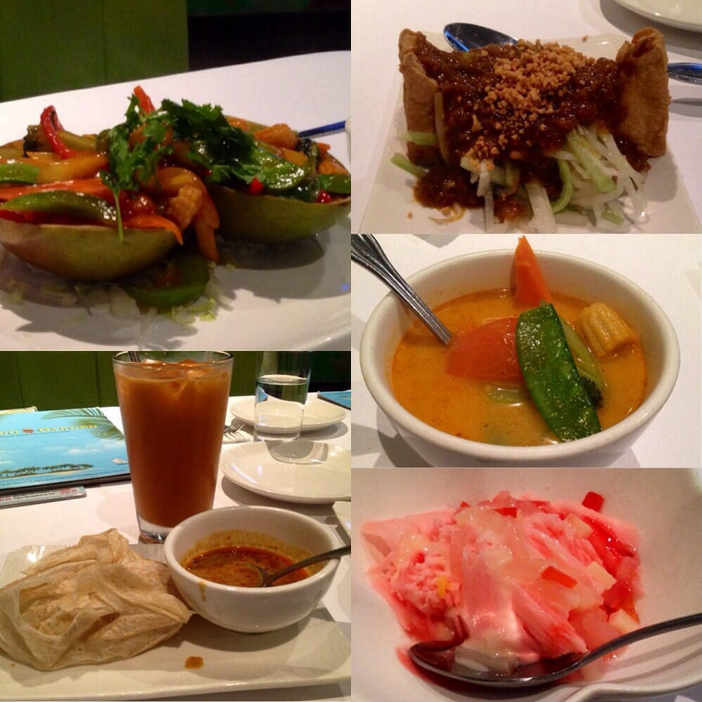 Mango delight & rice, roti parata, Thai iced tea, tofu salad (on the ...