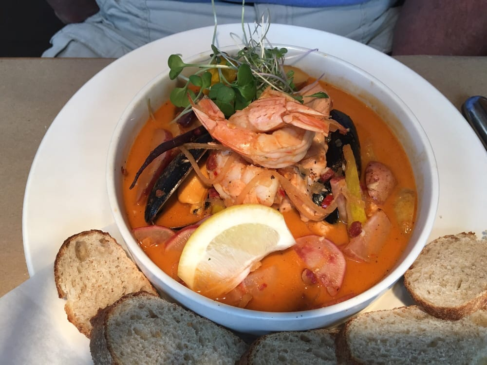 fishermans stew was loaded with salmon mussels shrimp