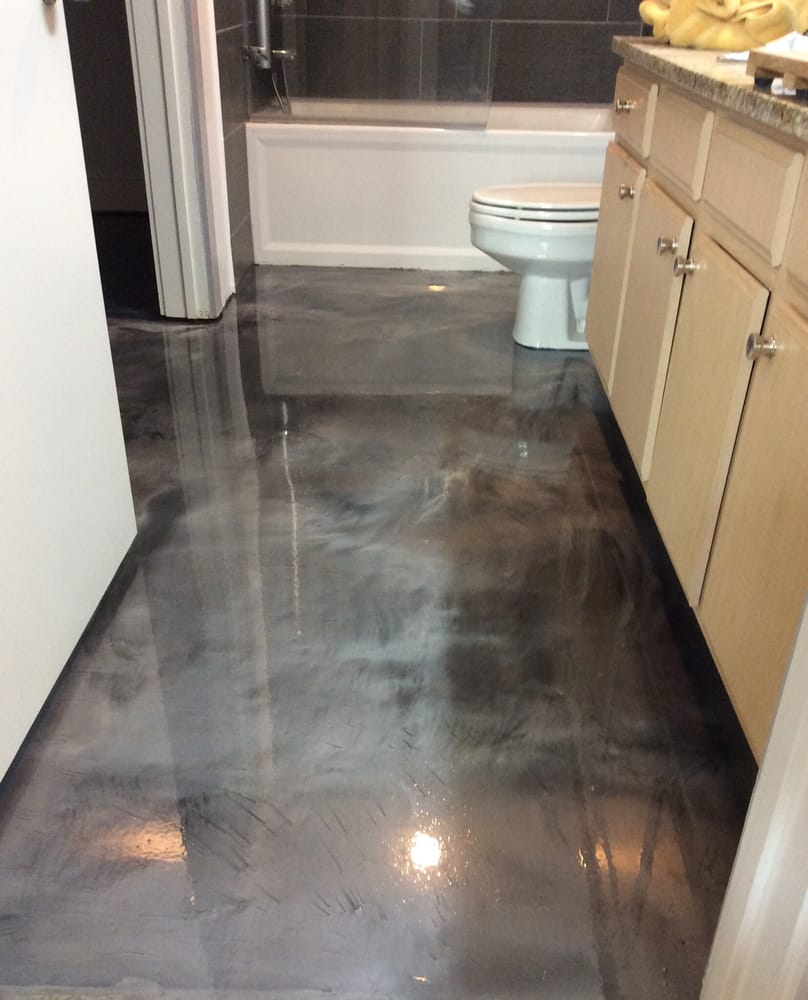Bathroom Floor Paint : Metallic epoxy bathroom floor coating yelp