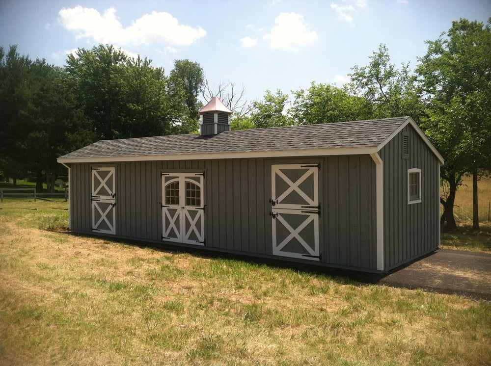 12 x 36 shed row with a tack room board n 39 batten siding for Affordable barns and garages