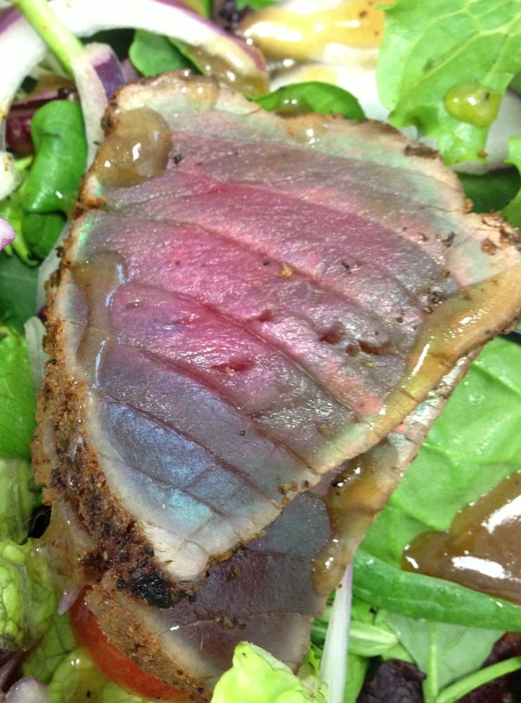 seared ahi tuna salad with the green/blue-ish iridescent