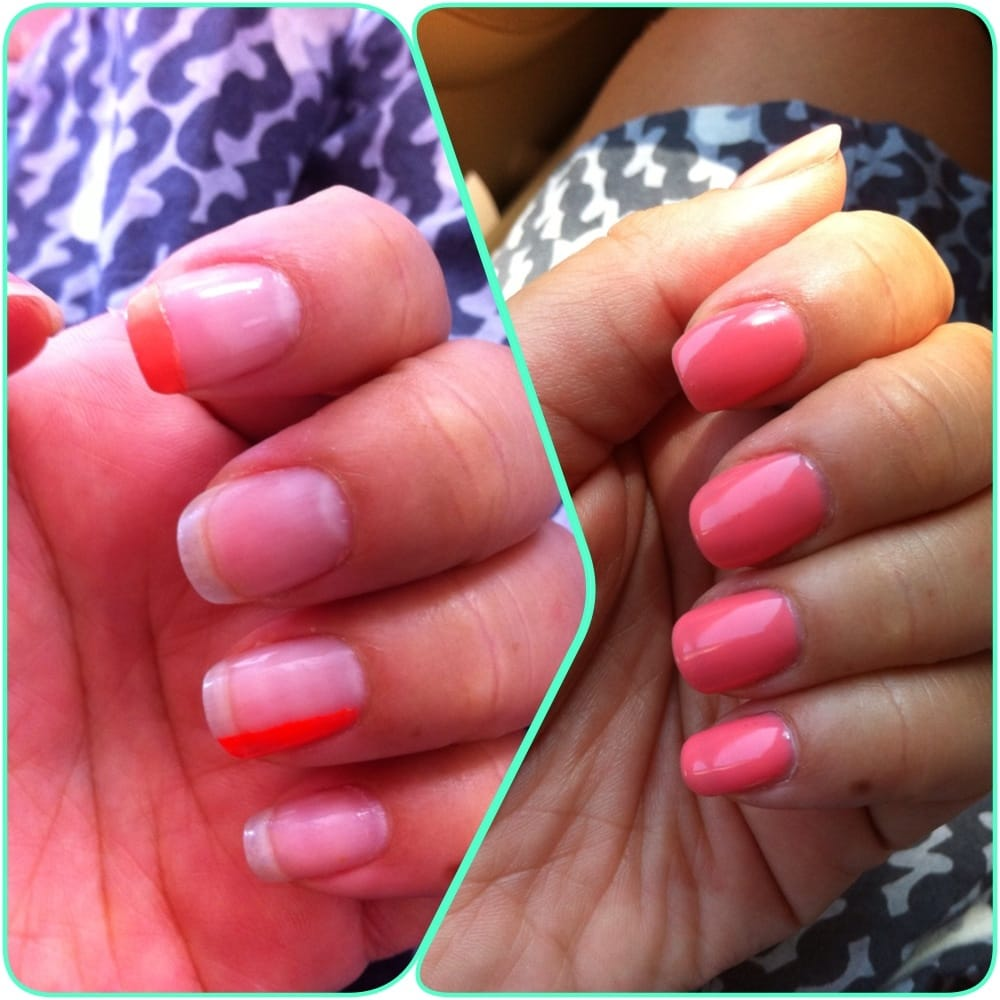 Before And after. Gel only. No manicure. $12. By Helen :) - Yelp