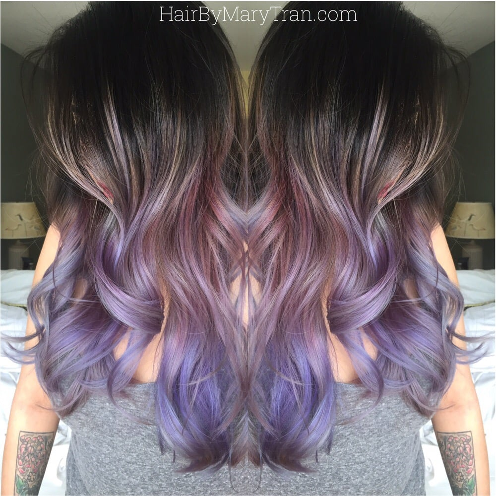 Purple Ombre And Long Layered Blended Haircut On Asian