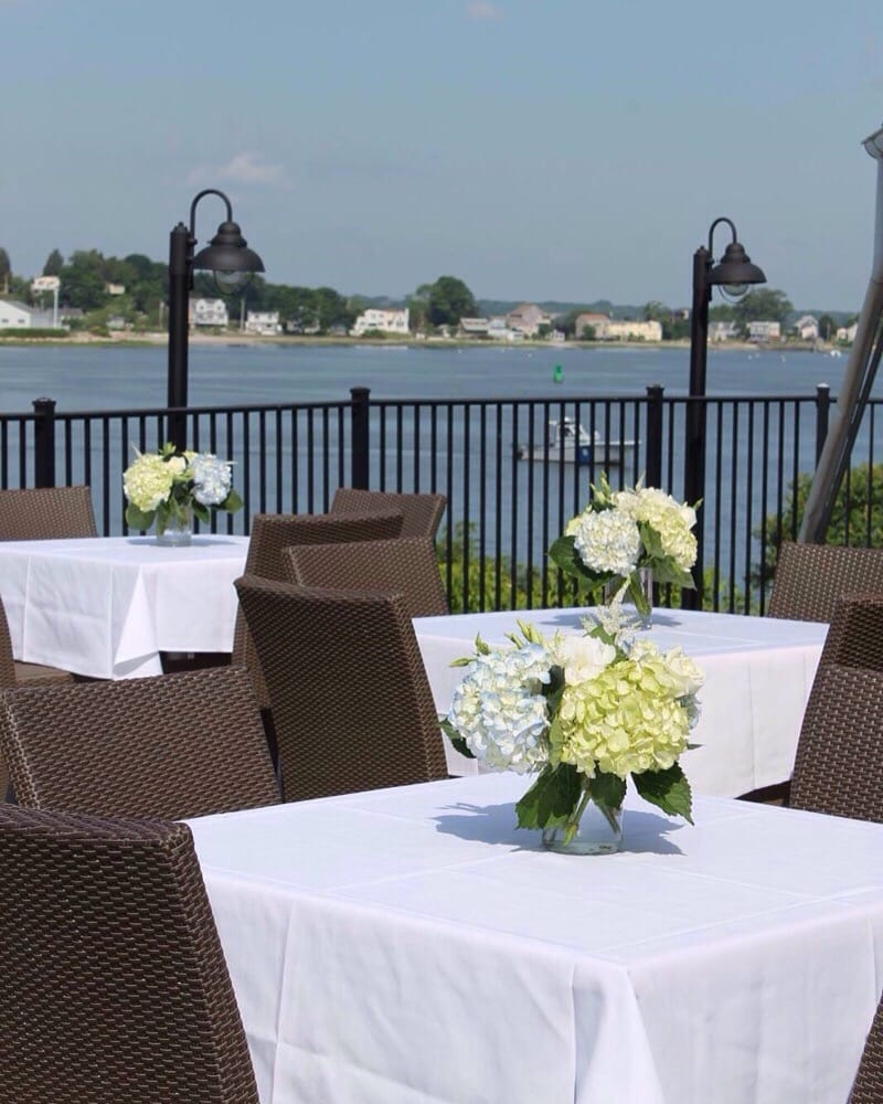 Centerpieces For An Outdoor Wedding By The Water At The Boathouse