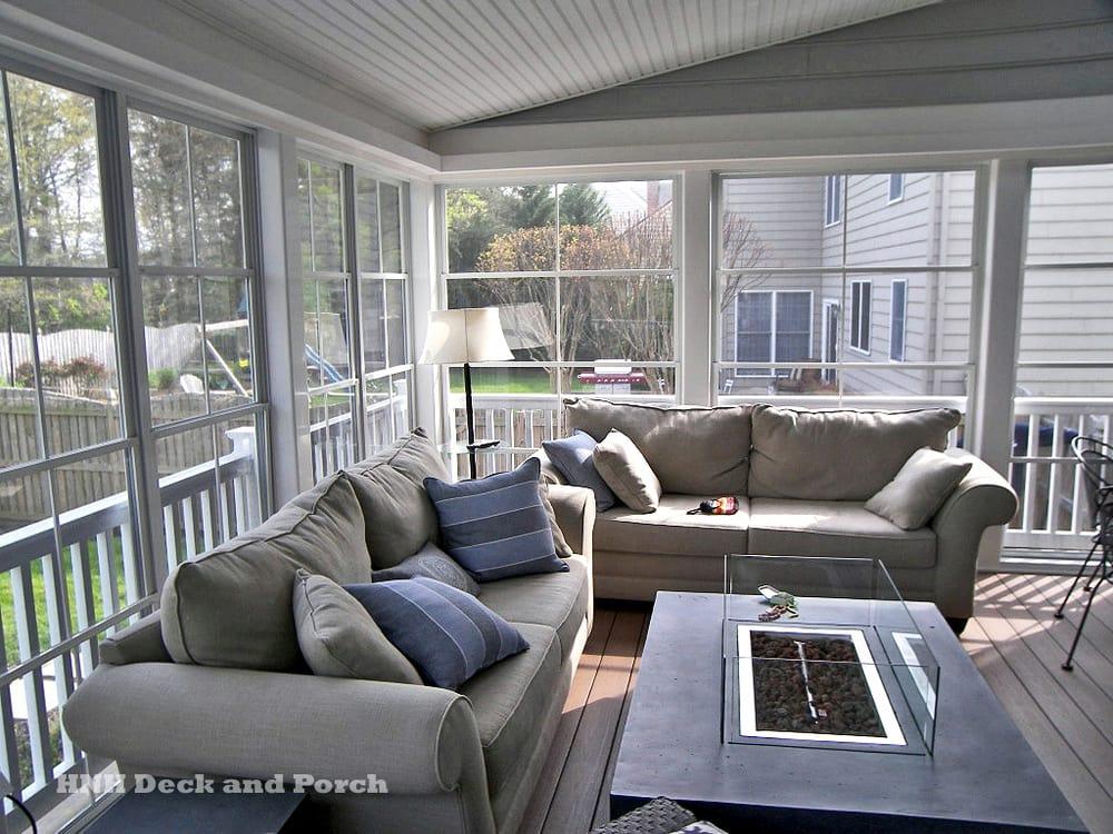 Screen Porch With Ezebreeze Sliding Panels And Vinyl Deck