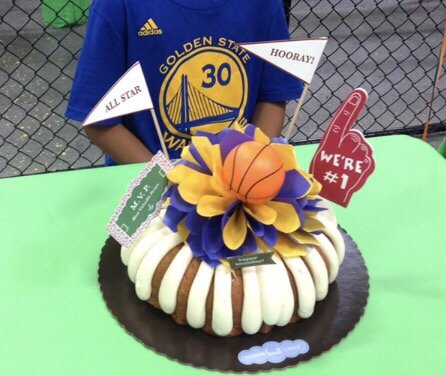 My sons birthday bundt cake in NBCs basketball theme Of course