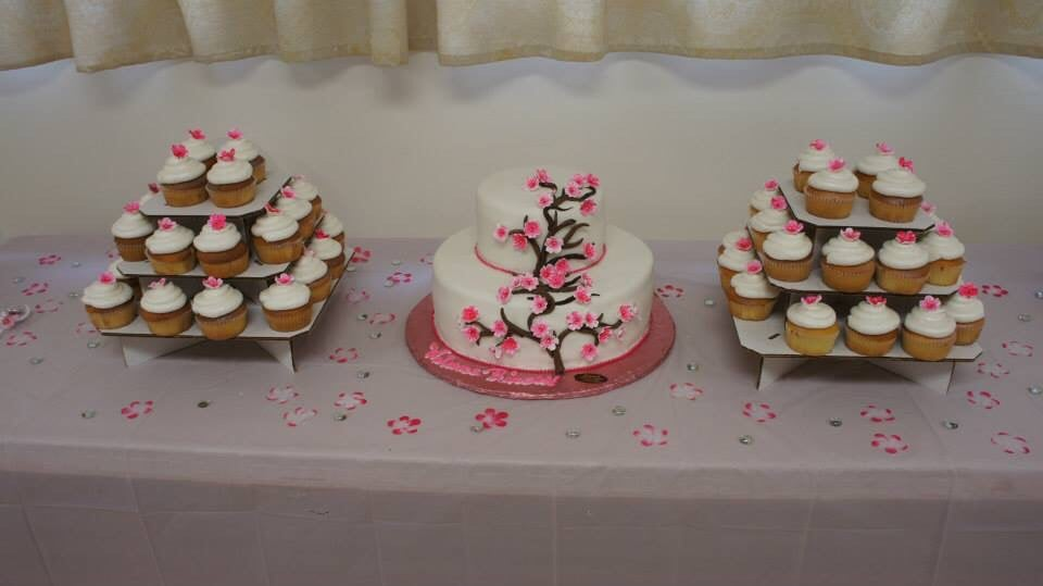 Baby Shower Cakes Brooklyn ~ My cherry blossom themed cake and cupcakes they did for my baby