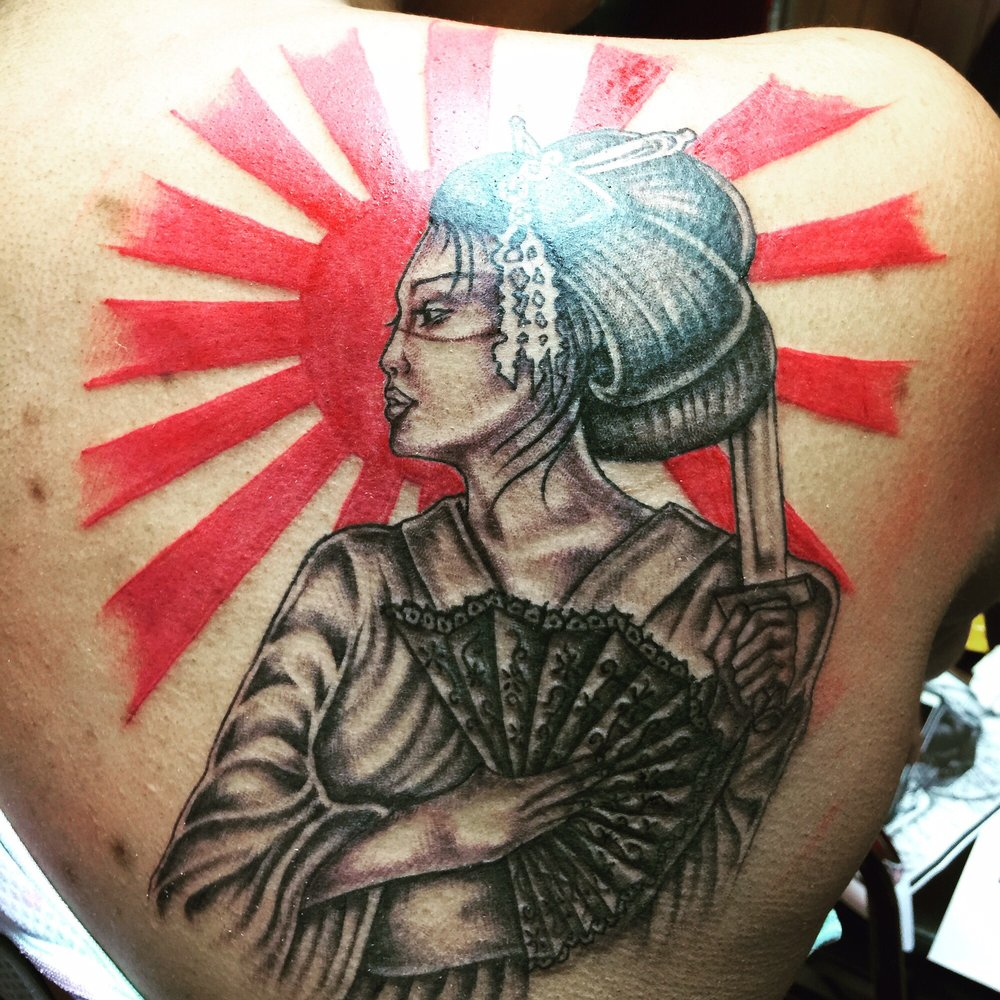 Geisha tattoo done by Ray from Island City Tattoos. Baltimore city ...