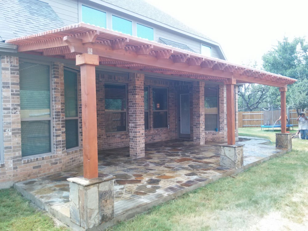 Photo of Austin Yard Builder Masonry Contractor - Austin, TX, United States. Stone patio and pergola built in Georgetown Tx by Austin Yard Builder masonry contractor.