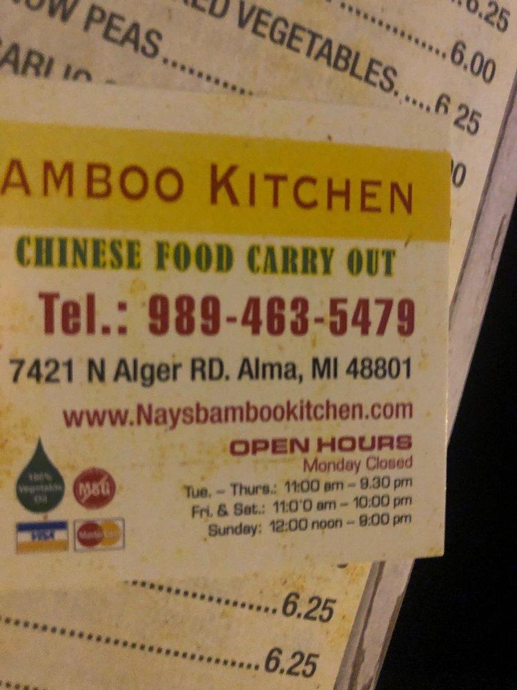 Nay's Bamboo Kitchen: 7421 N Alger Rd, Alma, MI