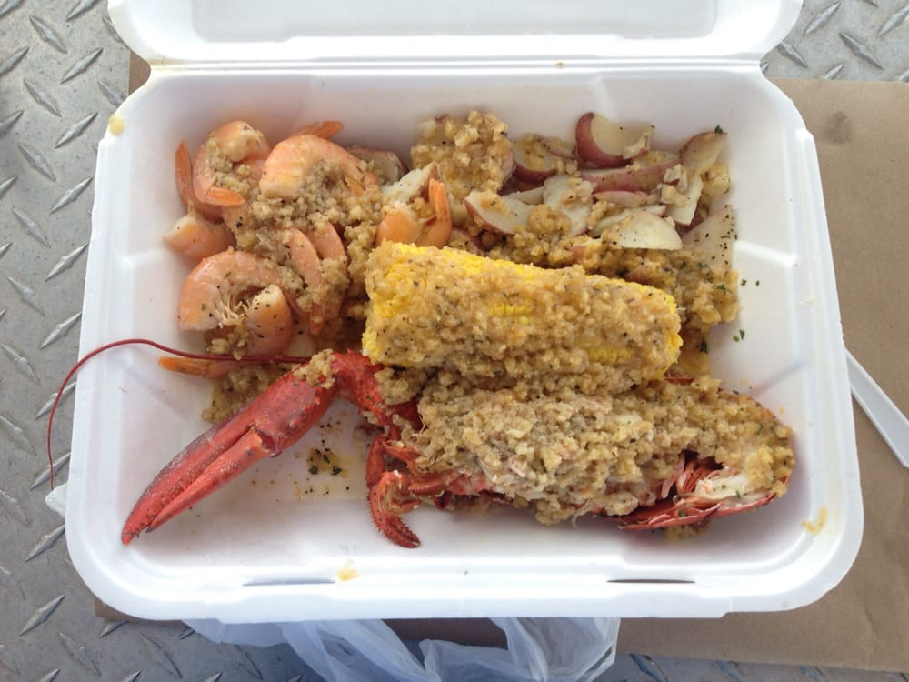 Lobster Shrimp Corn And Potatoes Covered With Crab And Corn Bread Yum Yelp