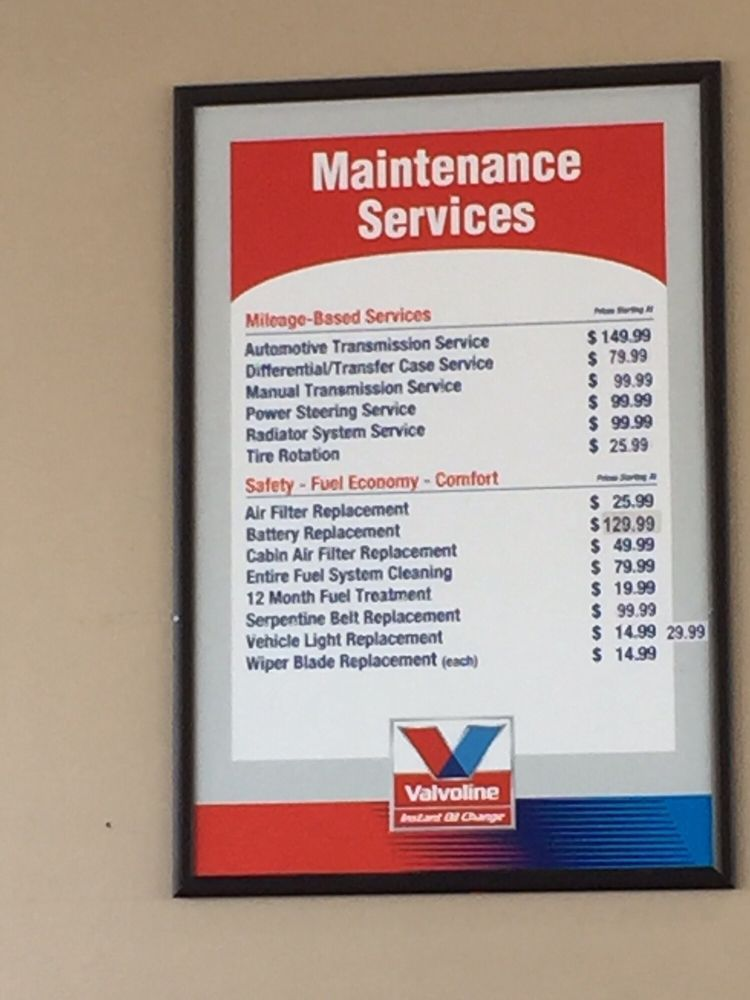 How Much Does It Cost For Oil Change At Valvoline