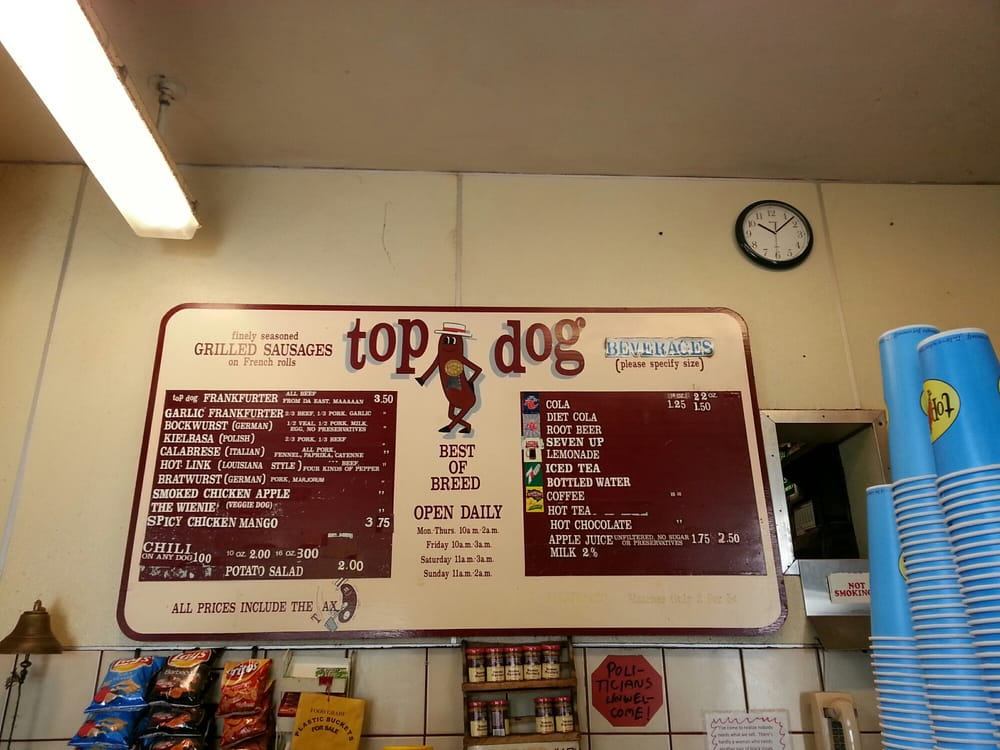 The Top Dog Menu Tax Is Included Choose Wisely Yelpers Yelp